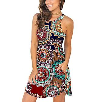 Brun, XL, Highwaist Dress with Pocket, Klänning med fickor, ,