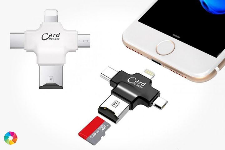 Adapter för micro-USB, TF-kort, USB-C och lightning