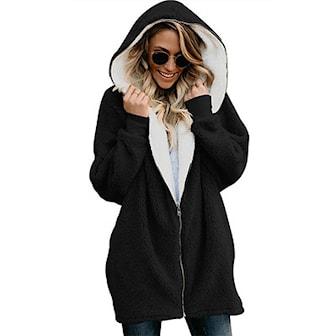 Svart, M, Loose Hoodies Long Coats, Oversize lång hoodie,