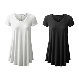 Svart, Vit, M, Womens Top V-Neck, 2-Pcs, 2-pack lång t-shirt/tunika, ,