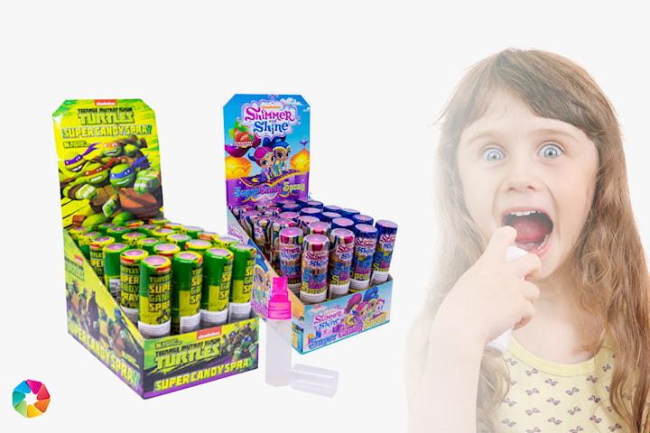 Godisspray Shimmer & Shine eller Turtles, 24-pack