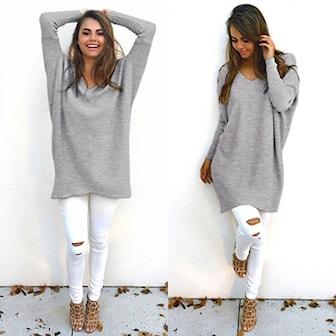 Grå, XXL, Long Sleeve Autumn Sweater, V-ringad tröja,