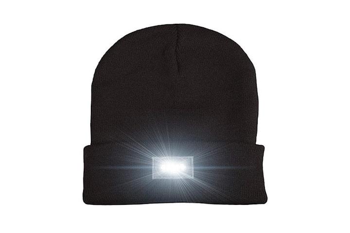 LED mössa med fem inbyggda lampor - svart