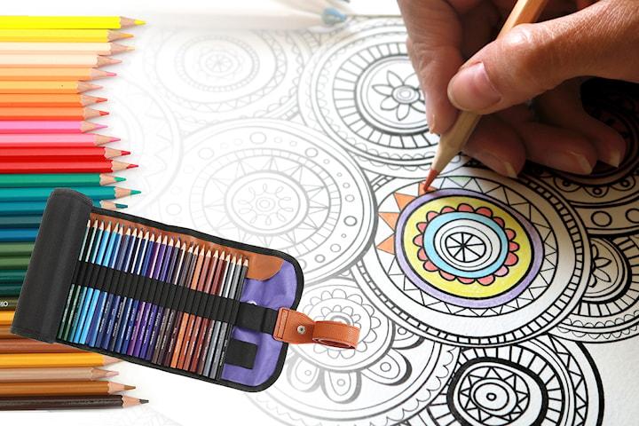 Komplett uppsättning med 50 färgpennor
