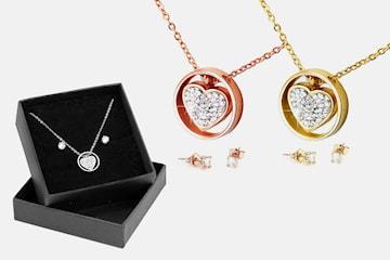 Smyckeset One heart duo med Swarovski-kristaller