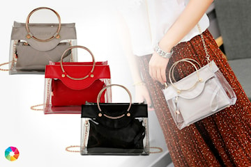 Transparent väska med matchande clutch
