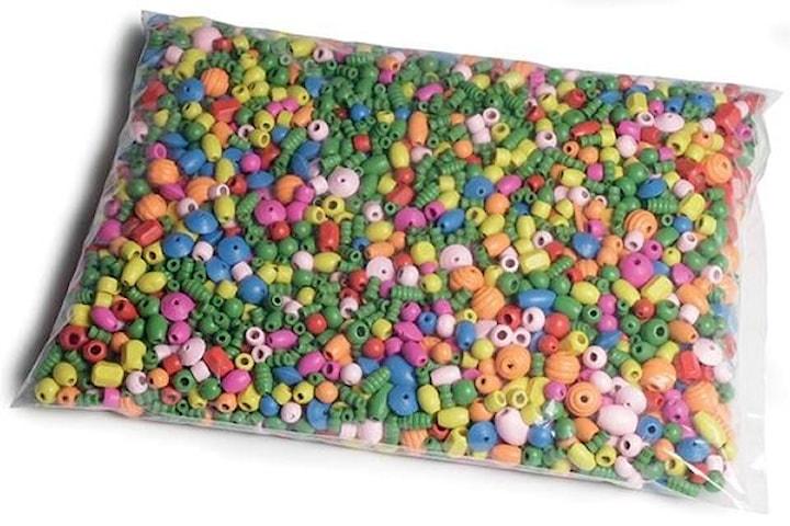 Träpärlor i blandade storlekar och färger, 1kg