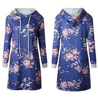 Blå, L, Hoodie Dress, Flower Print, Genserkjole, ,