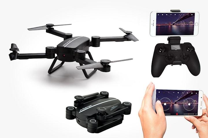 Hopfällbar drönare med realtids-kamera