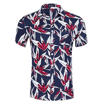 L, Navy/Red Crush, Men's Summer Shirt, Sommarskjorta i herrmodell, ,