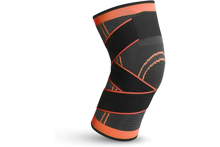 Knäskydd med kompression, Orange/Svart, X-Large