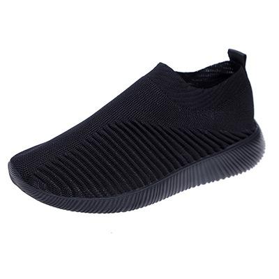 Svart, 37, Knit Pull-On Sneakers, Skor utan snörning,  (1 av 1)