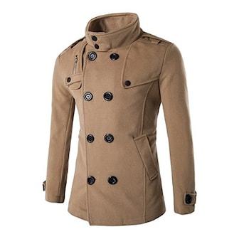 Khaki, S, Double Breasted Coat for Men, Kappa i herrmodell, ,