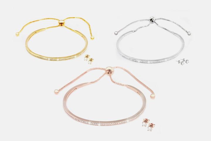 Armband och örhängen set med Swarovski-kristaller