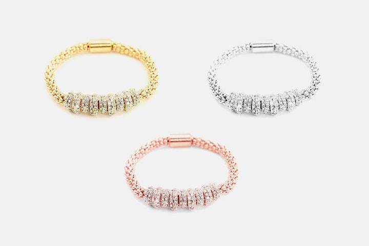 Onyx armband med Swarovski-kristaller
