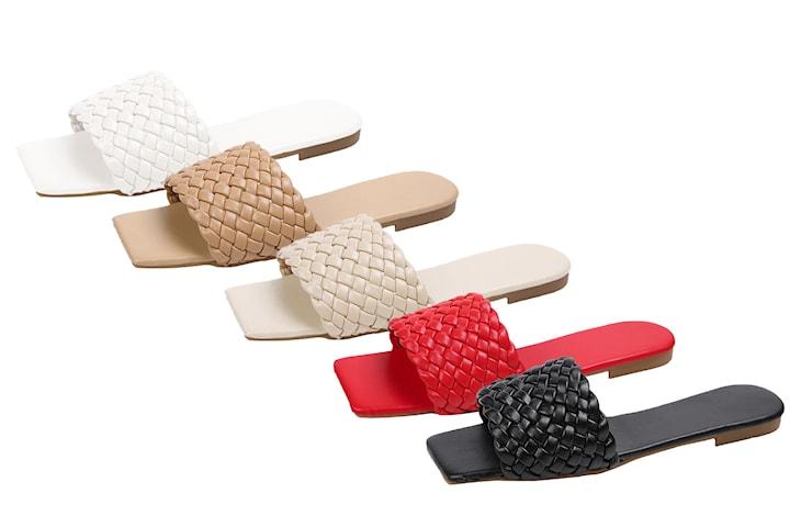Sandaler med flettet kunstlær