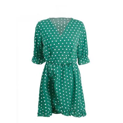 Grønn, S, Ruffled polka dot mini dress, Kjole med polkadotter, ,  (1 av 1)
