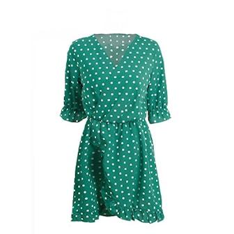 Grønn, S, Ruffled polka dot mini dress, Kjole med polkadotter, ,