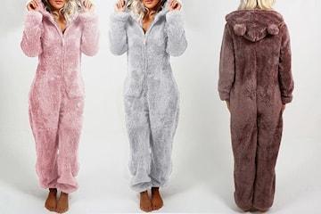 Jumpsuit faux fur med luva