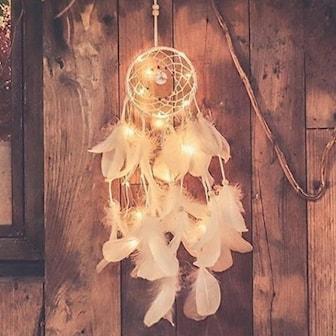 Hvit, Dream Catcher with Night Light, Drømmefanger med lys,