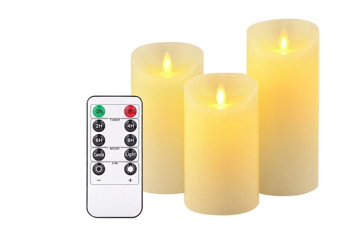 LED-lys med realistisk flamme