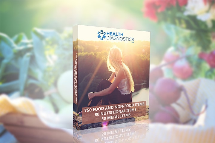 Hälsotest - intoleranstest för 750 olika livs- och icke livsmedel, 80 näringsämnen och 50 metaller