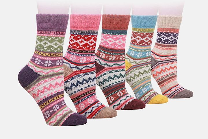 Fargerike sokker 5-par
