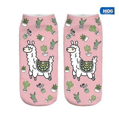 H06, Funny Llama 3D Printing Socks, Ankelsokker med lamamotiv, ,  (1 av 1)