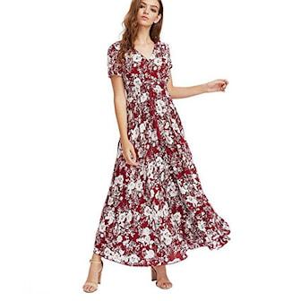 Röd, L, Short Sleeve, Womens Summer Floral Cotton Dress, Blommig maxiklänning, ,