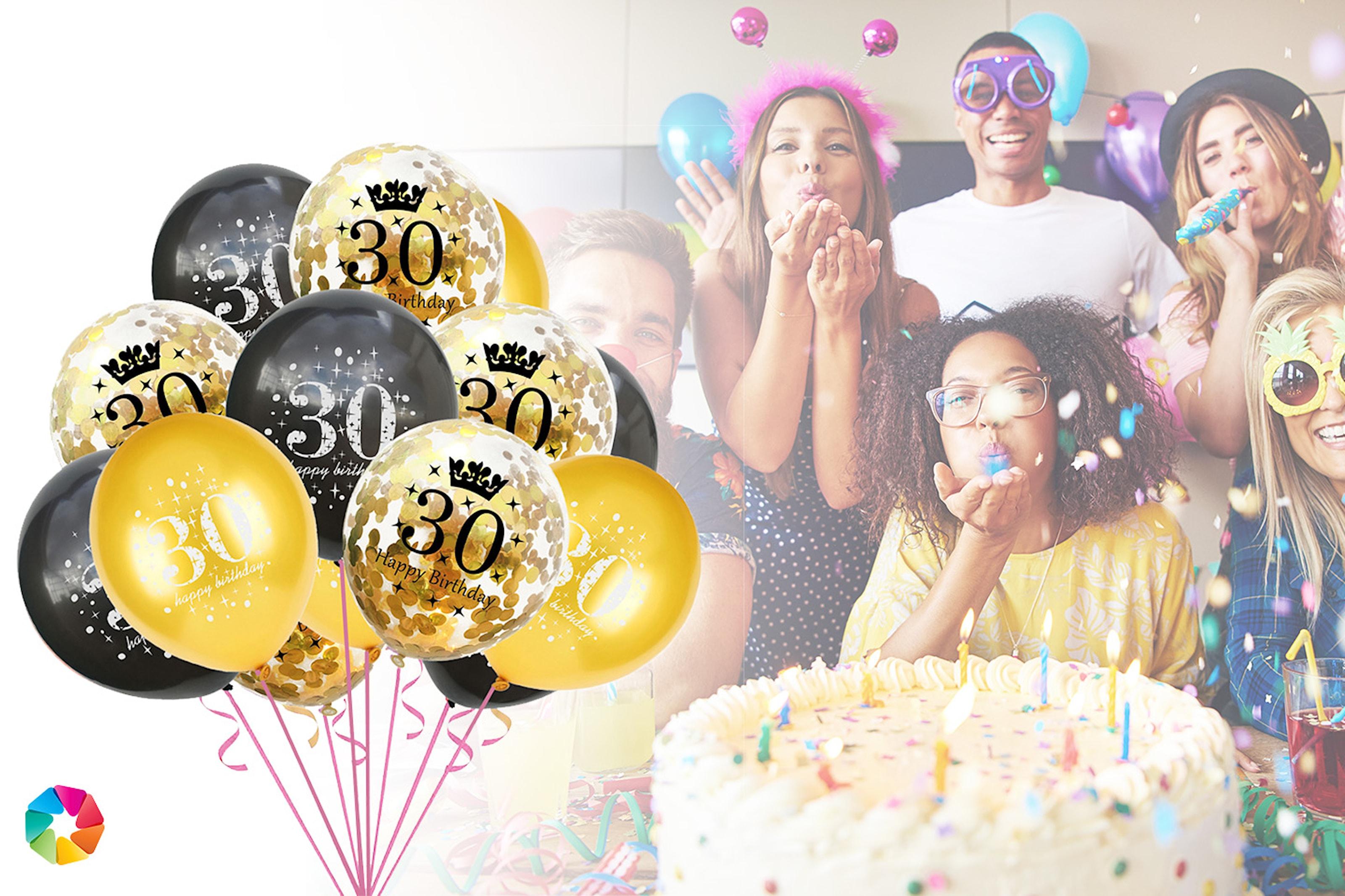 15 eller 30-pack Happy Birthday-ballonger