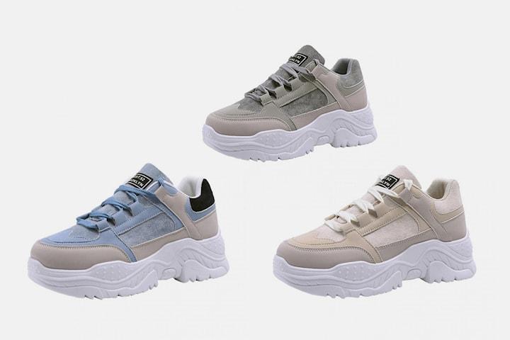 Sneakers med hög platå dam
