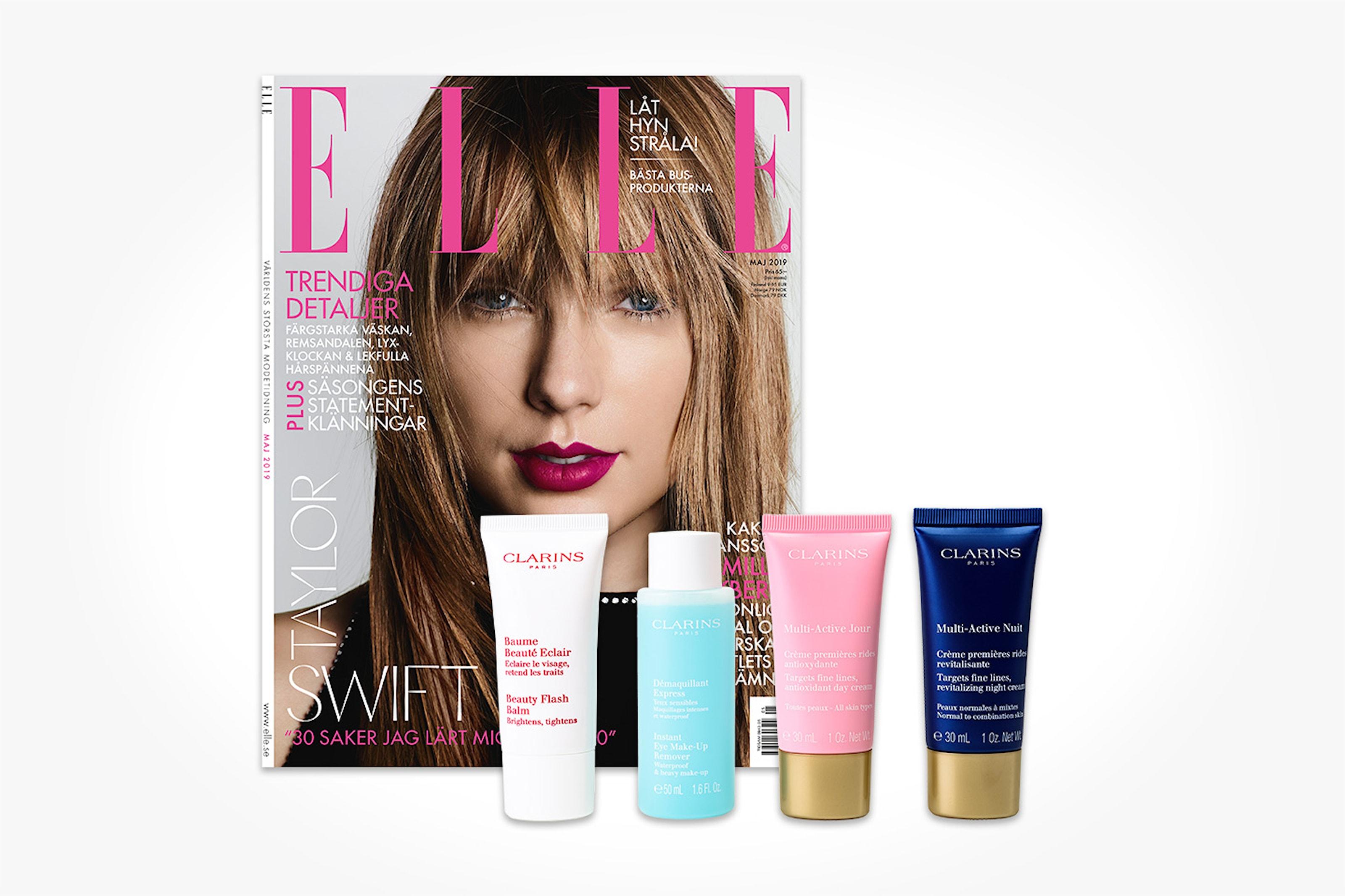 4 nr av Elle + skönhetsprodukter från Clarins