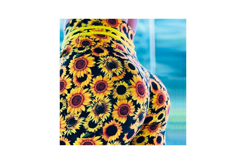 Leggings med solrosmönster