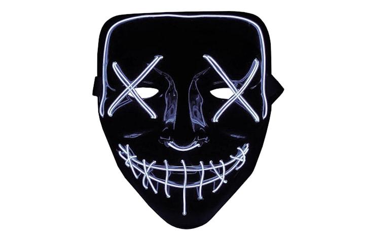 The Purge LED Neon Mask, Halloween - Hvit