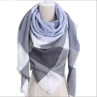 Blå/Grå, Womens Warm Check Neck Scarf, , ,