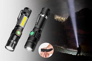 Oppladbar lommelykt med kraftig T6 LED