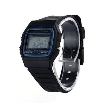 Svart, Rubber Strap Digital Watch, Digital klocka i retrostil, ,
