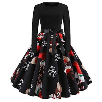 S, 1, XMAS Dress Bow, Kjole med julemønster,
