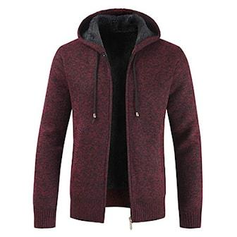 Rød, XL, Men's Warm Cozy Hoodie, Hettejakke, ,