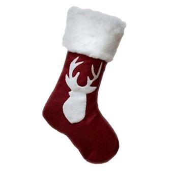 Reindeer Head, Velvet Xmas Sock, Julestrømper med reinsdyr,