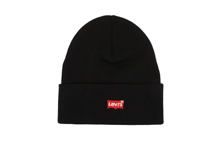 Levi's Red Embroidered Batwing Beanie
