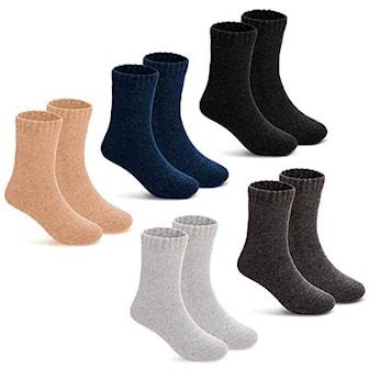 Svart, Marinblå, Beige, Grå, Ljusgrå, L, 5-Pack Wool Socks, Mjuka ullstrumpor 5 par, ,