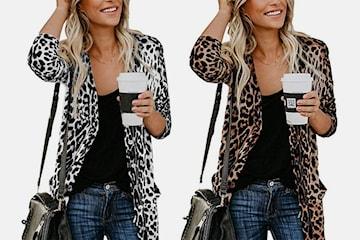 Cardigan med leopardmönster