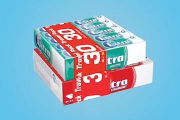 Extra tyggegummi 2 x 30-pack jordbær eller eucalyptus