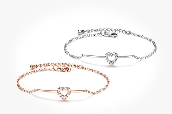 Armband i silver- eller guldfärg med Swarovski-kristaller