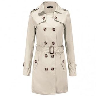 Khaki, S, Trench Coat, Damekåpe, ,