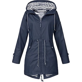 Mörkblå, L, Hooded Raincoat, Regnjacka, ,