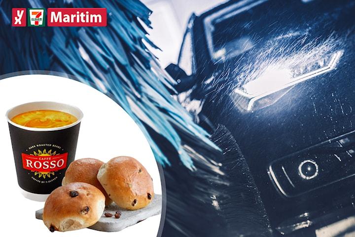 Bilvask hos YX 7-Eleven Maritim, inkl. tre boller og kaffe