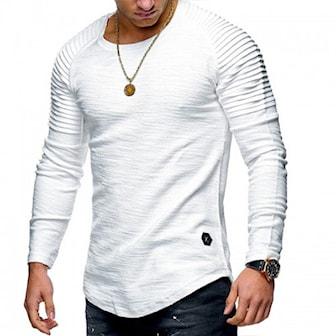Hvit, M, Men's T-shirt & Longsleeve, Longsleeve med striperte folder,