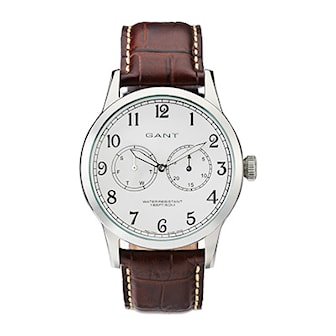 W70322, W70322, Armband: brun, läder. Urtavla: silver, rostfritt stål. Mått: 43 mm,